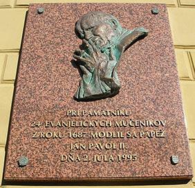 A mártírok emléktáblája Eperjesen